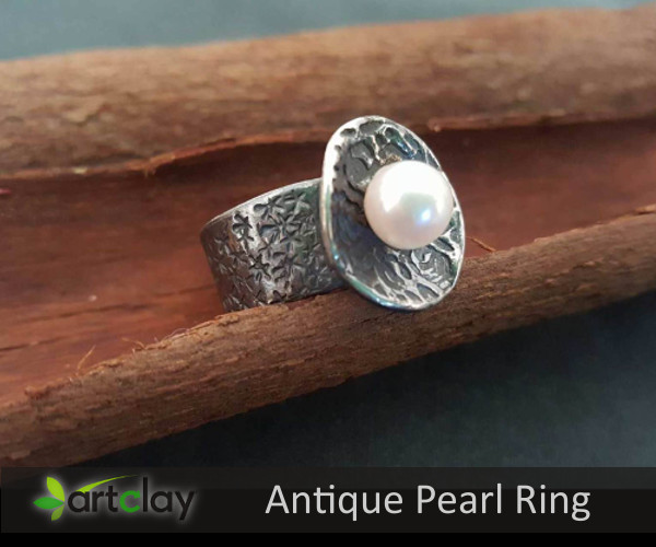 Art Clay Silver Australia   Antique Pearl Ring