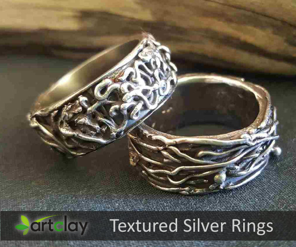 Art Clay Silver Australia   Textured Silver Rings