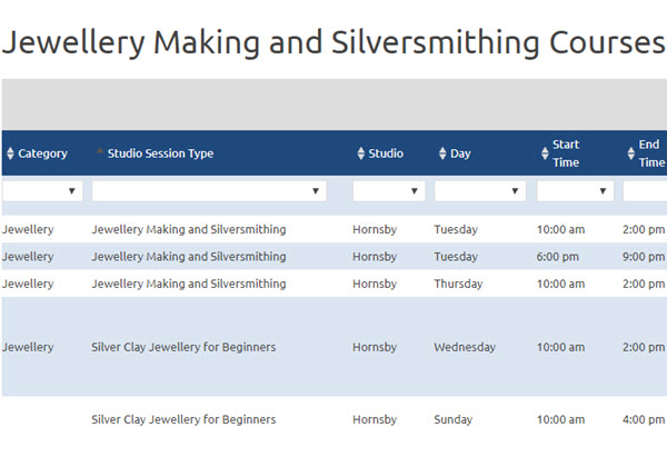 Jewellery Making and Silversmithing Courses and Workshops Timetable