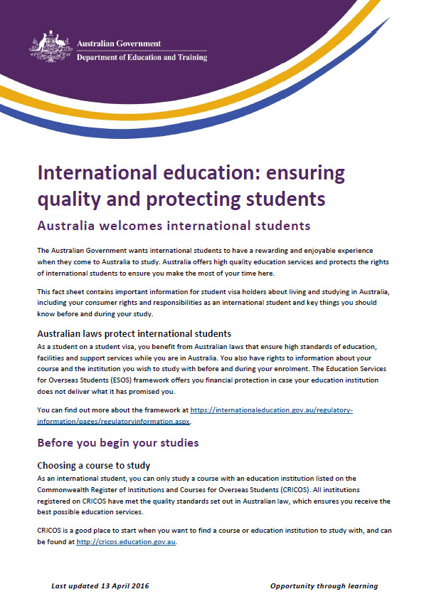 Fact Sheet for International Students Studying in Australia - Australian Govenment