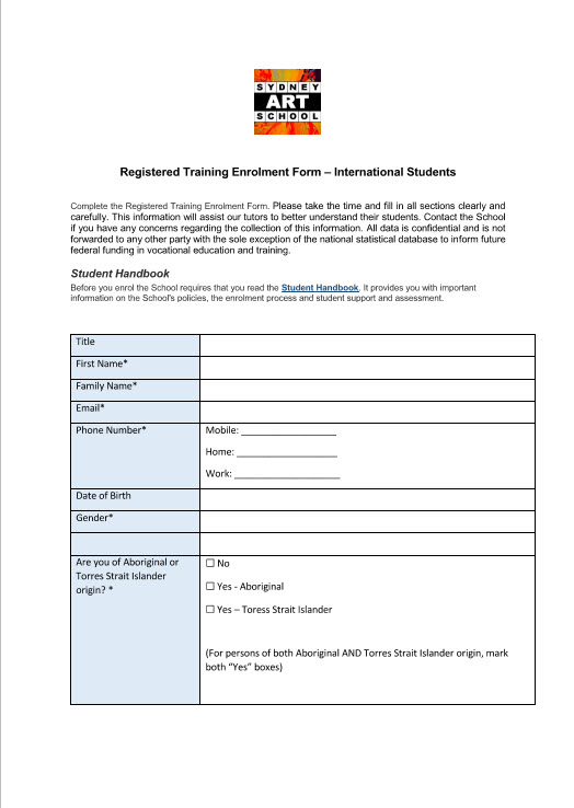Sydne Art School International Student Enrolment Form