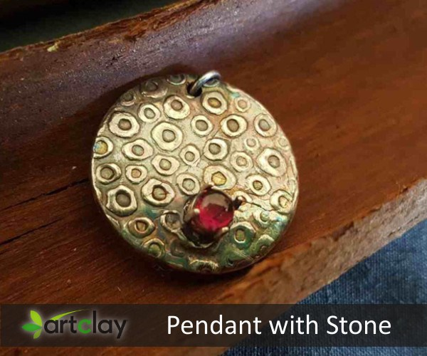 Art Clay Silver Pendant with Stone