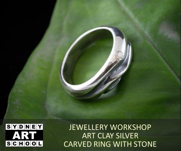 Art Clay Silver - Workshop - Carved Ring with Stone