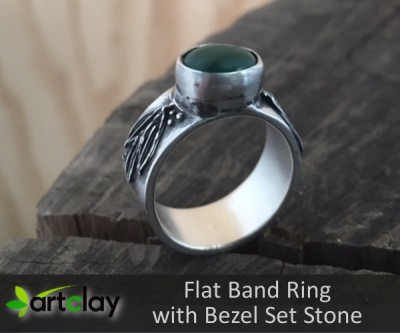 Flat Band Ring with Bezel Set Stone