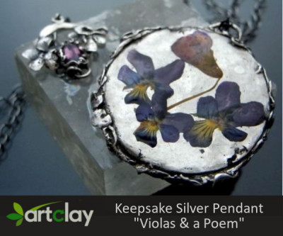 Silver Clay Project - Keepsake Pendant - Violas & A Poem